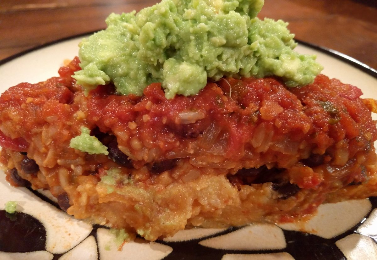 Mexican Beans & Rice Polenta Pie