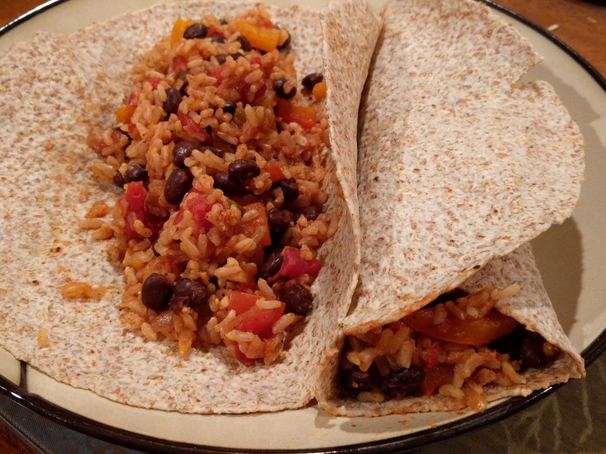 Spanish Rice & Bean Burritos