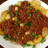 BBQ Lentils with Potato Wedges